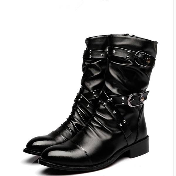 Men Shoes Black Motorcycle Martin Boots New 2019 Spring Autumn British Style Punk Zipper Leather Shoes Size 37--44