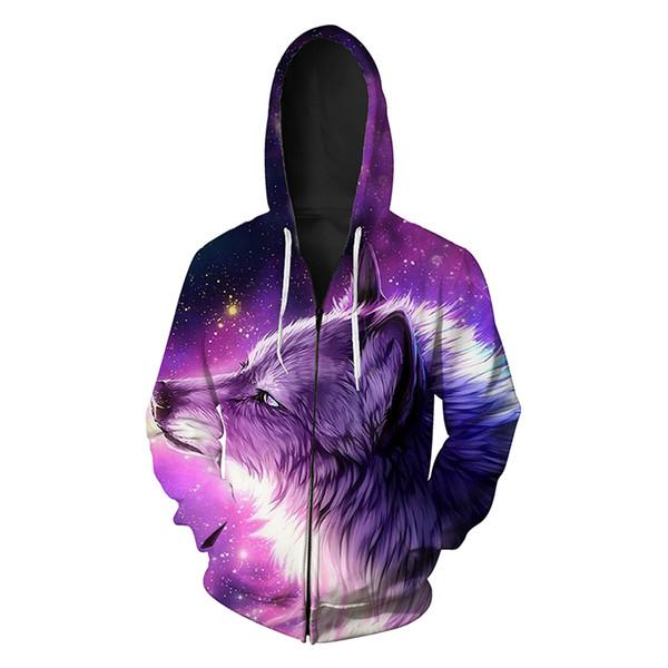Men Zipper Hoodie Galaxy Wolf Head 3D Full Print Man Zip Hooded Sweatshirt Unisex Casual Hoodies Long Sleeves Sweatshirts Tops (R424)