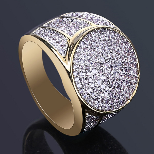 18k Gold Rings For Men Luxury Hiphop Ring Full Diamond Cool Jewelry Pop Hip -Hop Accessories Free Shipping