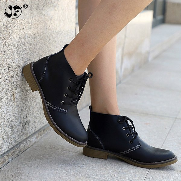 Woman Fashion Genuine Leather Motorcycle Ankle Boots Female Lace Up Low Heels Platform Comfortable Spring Autumn Shoes966