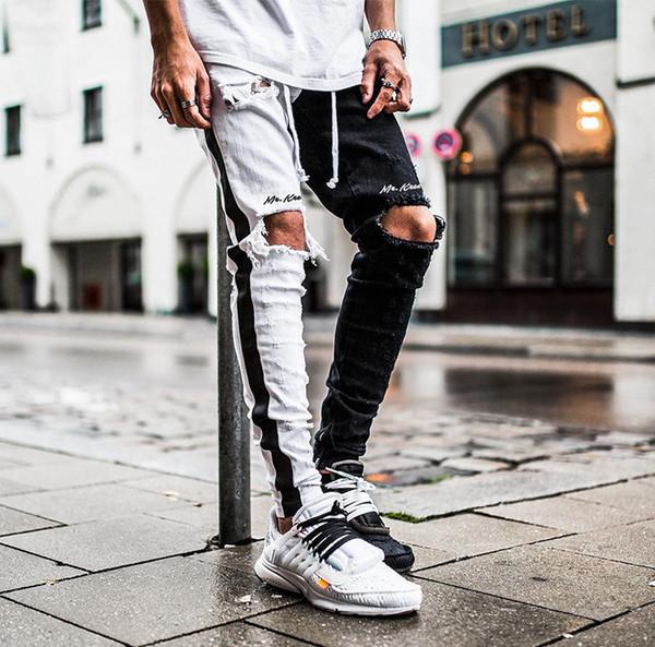 Diz Deliği Mektup Baskı Siyah Beyaz Bölünmüş Erkekler Sıkıntılı Kot Hip Hop Streetwear Demin Ince Pantolon