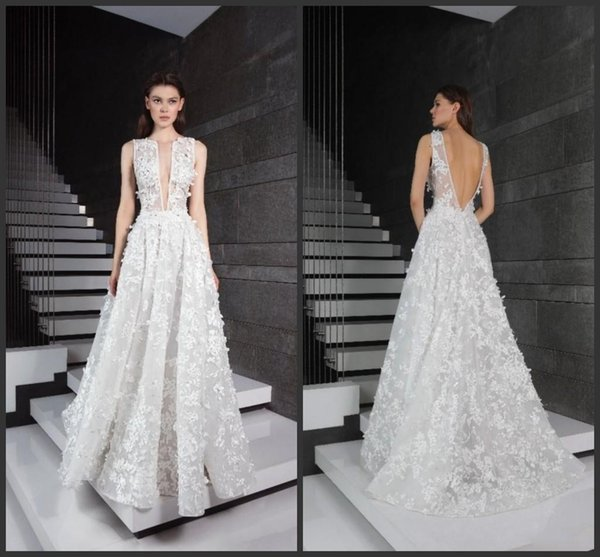 2019 New Tony Ward Lace Wedding Dresses V Neck 3D Appliqued Bridal Gowns Backless Boho Wedding Dress Cheap