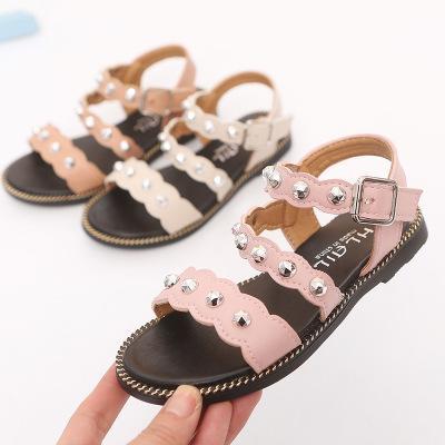 Sandali per bambini estate esplosione tendenza sandali delle ragazze scarpe da spiaggia punta aperta antiscivolo fondo morbido rivetto stile romano moda ragazze sandalo