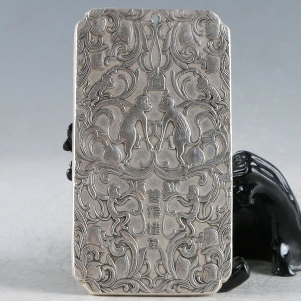 The Ancient Chinese Tibet Silver Hand Carved Double Monkeys Pendant RY013 Statue Collection Crafts Decoration Furniture Ornamental