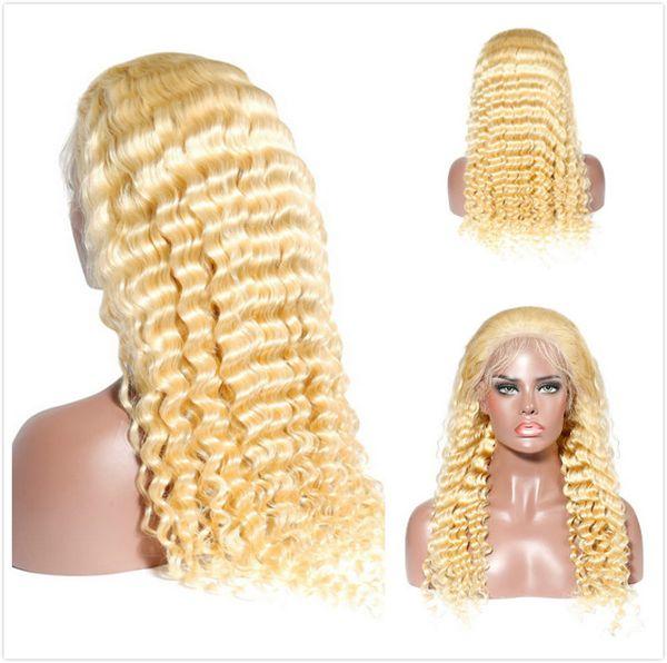 Pelucas delanteras del cordón del cordón trenzado de la onda profunda del pelo humano malasio de platino para las mujeres negras Color 613 Rubia rizada profunda sin cola Peluca llena del cordón