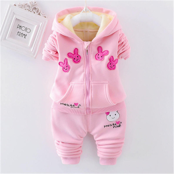 good quality Girls Clothing Set New Autumn Winter Lovely Cartoon rabbit Warm Kids Suits Hoodies Velvet Outwear Coat+Pants