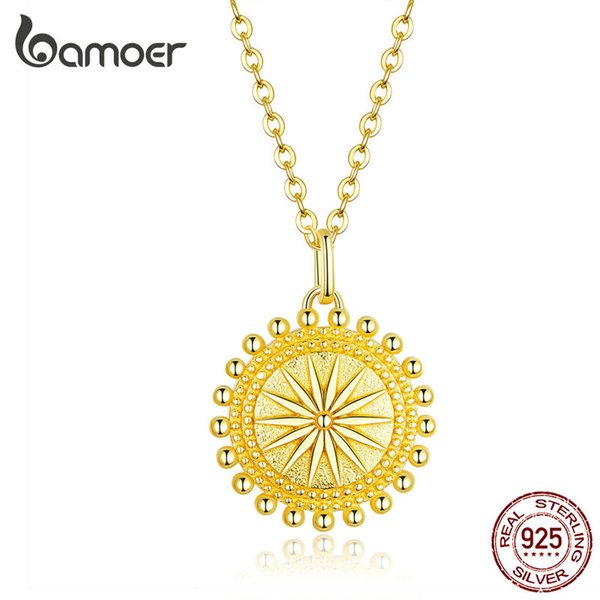 Sun Coin Pendente per collane da donna Colore oro Genuino Collane a catena in argento sterling 925 Collane con gioielli di moda