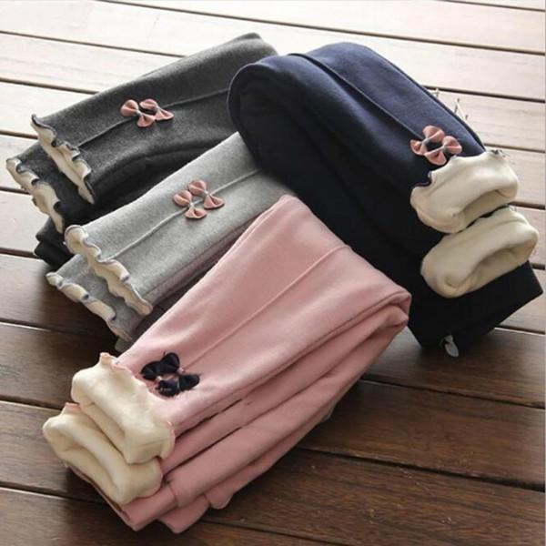 New Girls Pantalons chauds d'hiver enfants épaissie vers le bas Pantalon en coton Bow Enfants Polaire Pantalons bébé Casual 2-8 Y