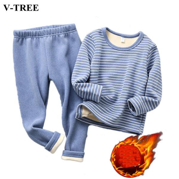 2019 Winter Kids Pajamas Sets Warm Pyjamas For Boys Thicken Girls Sleepwear 2-10years Fleece Baby Thermal Underwear T191016