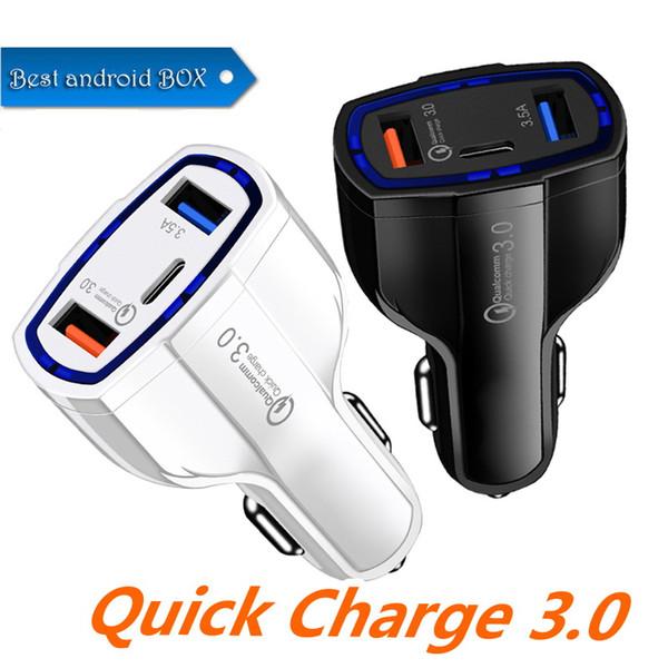 Qualidade superior qc3.0 três portas usb carregador de carro de carga rápida carregador de carro do carro dual-usb carregador do telefone móvel