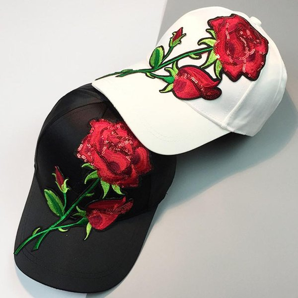 running shoes really cheap get online 2019 Women Men Couple Applique Floral Baseball Cap Unisex Snapback Hip Hop  Flat Hat Unisex Rose Printing Outdoor Tennis Caps From Comen, $38.03 | ...