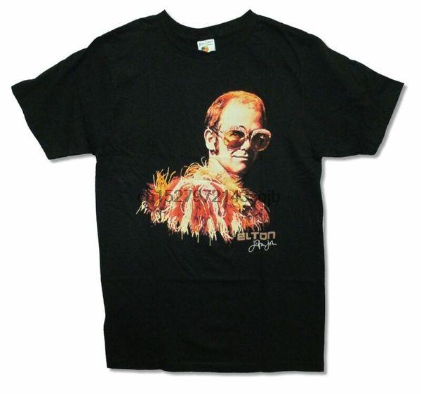 Elton John Big Glasses Classic Glam Black T Shirt New Official