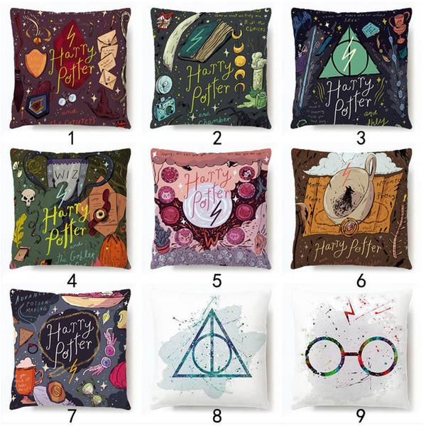 Harry Potter Pillow Case Glasses Hat Book Star Magic Wand print Cushion Cover room decoration Cushion Cover Decor LJJK1772