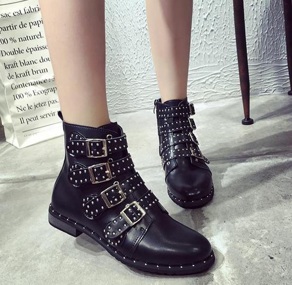 Compre Botines Punk Con Tachuelas De Cuero Mujer Botines Con Remaches Negros Botines De Mujer Estilo Punk Zapatos De Calle De Invierno Hebilla Botines
