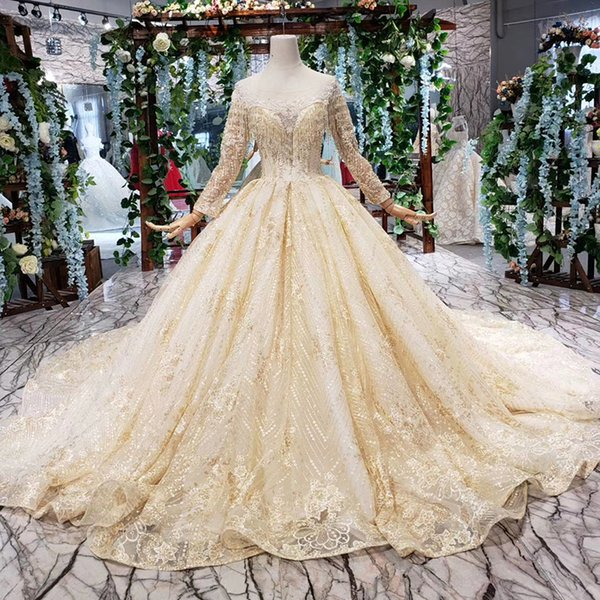 2019 Latest Lebanon Evening Dresses Illusion O Neck Tulle Long Sleeve Tassel Neckline Open Keyhole Lace Up Back Flower Pattern Prom Gowns