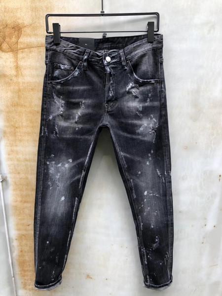 SS19 Mens Brand DQ895-96 Biker MEN JENANS Fashion Slim Skinny Jeans High Quality Cotton Jeans Mens Bell Bottom Pants