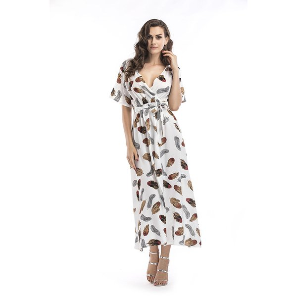 New Foreign Trade Women's Dress Summer Holiday in Europe and America with Deep V-neck and Multi-color Short-sleeved Chiffon Beach Skirt