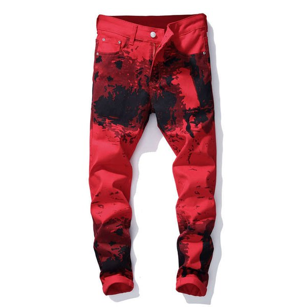 Fashion Streetwear Mens Motorcycle Biker Jeans Slim Fit Red Color Elastic Punk Pants Hip Hop Jeans Night Club Style Printed Jeans For Men
