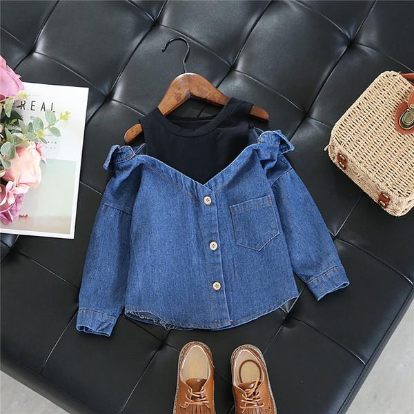 top popular Little Girls blouse shirt casual tops fall toddler baby girls denim shoulderless long sleeve school girls tops for 2-7 Years Y200704 2021