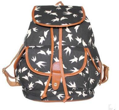Designer-Europe and the United States wind -2017 fashion canvas printing swallow shoulder bag casual backpack