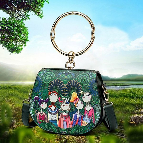 Ms. bag Patchwork Forest girl Printing Green PU Fashion Trend Cute Fashion Shoulder Diagonal round package