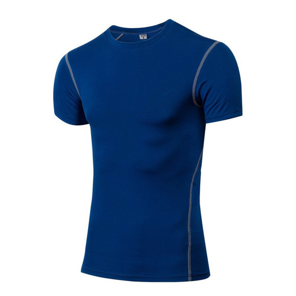 2019 Men's tight-fitting Fitness Clothing Running short-sleeved Sportswear stretch-dry Clothes T-shirt