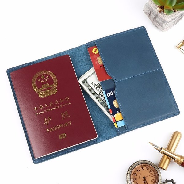 2018 New Genuine Crazy Horse Leather Passport Cover Solid Credit ID Card Case Holder Business Unisex Travel Wallet