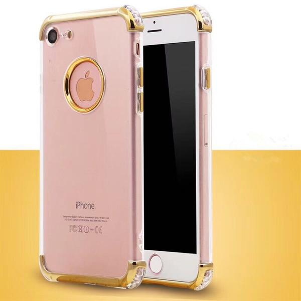 Para LG K4 K8 K9 K10 2017 2018 Parachoques galvanizado Borde Transparente Ultra Delgado Crystal Clear Corner Drop Soft TPU Protectiver Funda