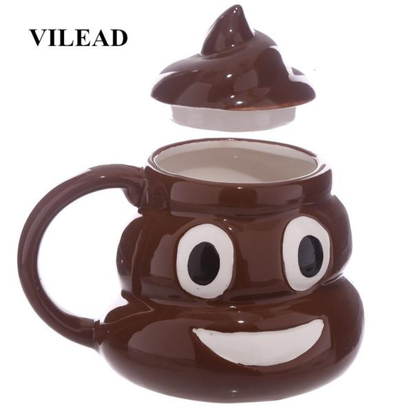 Keramik VILEAD lustige 3D Poo Emoji-Becher Karikatur-Lächeln Kaffee-Milch-Poop-Becher Wasser-Schale mit Deckel Handgriff Teetasse Büro Trinkgefäße SH190925