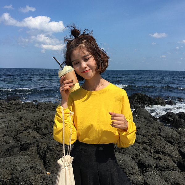 2017 Autunm New Fashion Solid Casual Allentato Basic Cotone All Match College Wind T-shirt manica lunga femminile