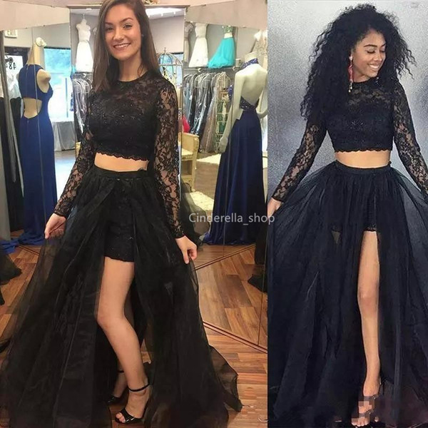 Two Pieces Black 2019 Prom Dresses With Long Sleeves Lace Tulle Sequins Girls Graduation Formal Evening Gowns Side Slit Customized Vestidos