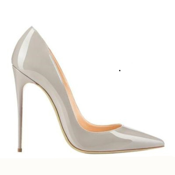 2019 High Quality Fashion man-made shiny patent leather Large Size Crystal Wedding Girls stiletto Heel party Women Pumps Dress Shoes