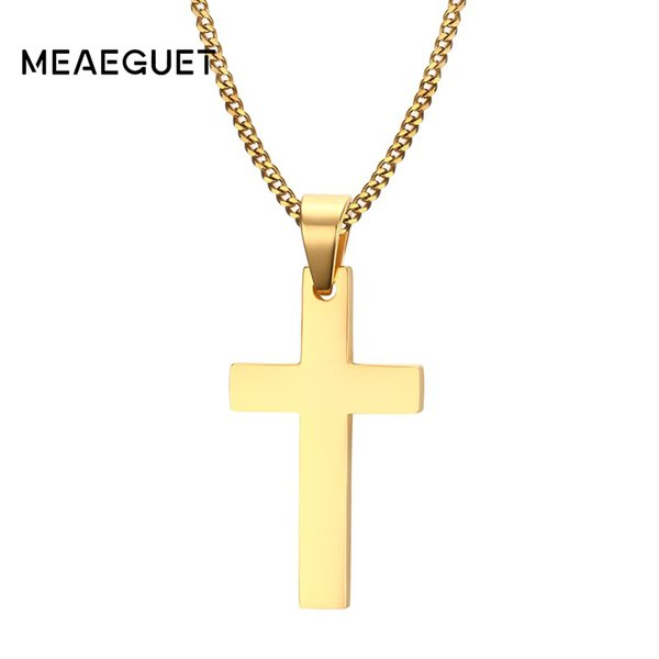 """for women Meaeguet Jewelry Men's Cross For Women Men Stainless Steel Gold-Color Pendant Prayer Necklaces 24\"""" Curb Chain"""