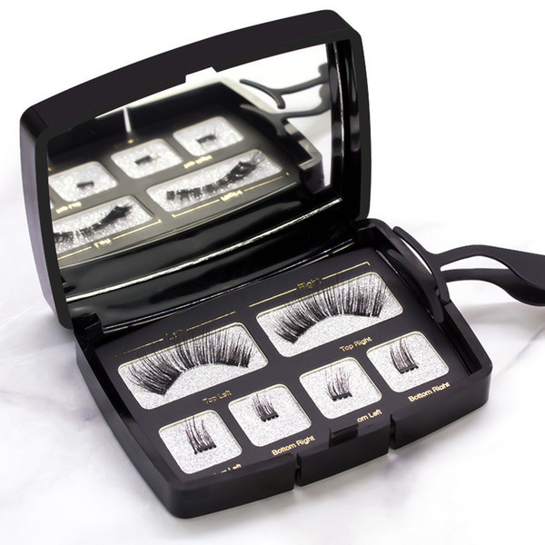 HOT sell Magnetic eyelash acrylic set of one pairs of magnetic eyelashes with tweezers free glue
