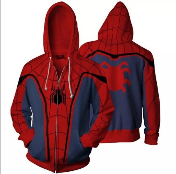 Cosplay Costume Casual Hoodies Superhero Spiderman Ironman Zipper Cardigan Hooded Coats Man Women Fashion Sweatshirts Plus Size S/5XL