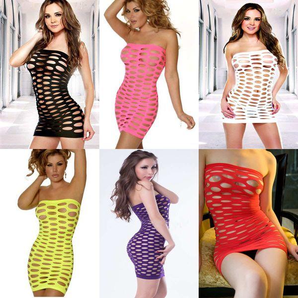 Designer Lingerie Sexy Babydoll Big Mesh Underwear Tight Jumpsuit Night Wear Jumpsuit pour Femme 6 Couleur