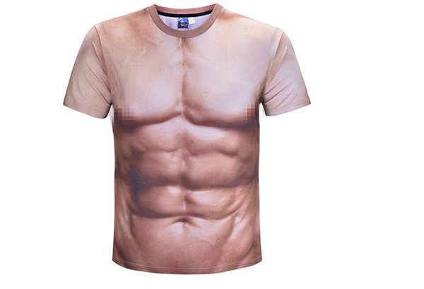 2019 hot style 3d muscle man short T-shirt photo spoof realistic digital print elastic fitness sweatshirt