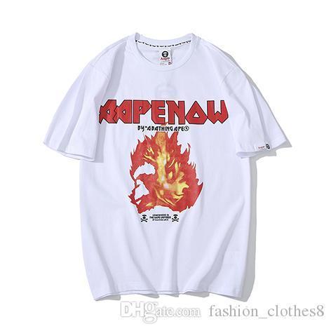 19ss YENI APPE gömlek Otoriter Flames Gömlek Mens Yaz tişörtleri Marka Tasarımcı gömlek Moda Lüks Baskılı gömlek Casual Sokak tshirt2