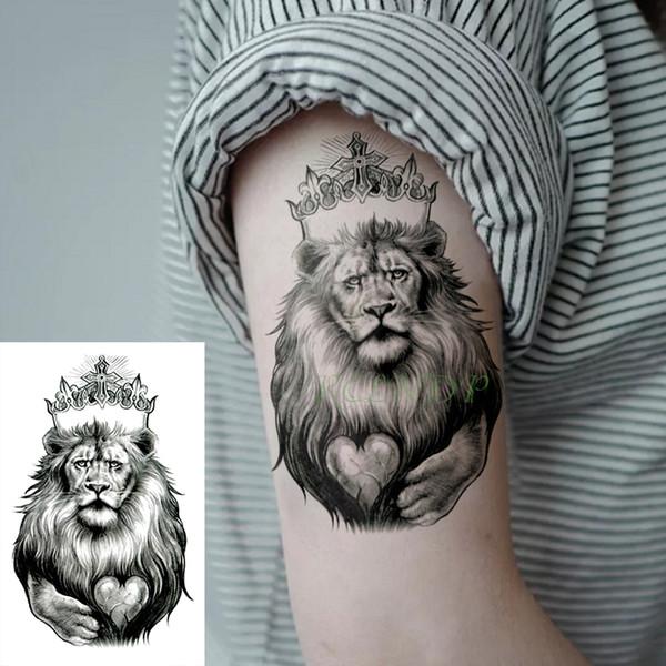 Adesivos Tatuagem Temporária à prova d 'água rei leão coroa coração cruz Falso Tatto Flash Tatoo Arte Corporal tatuagens para Menina Mulheres homens garoto