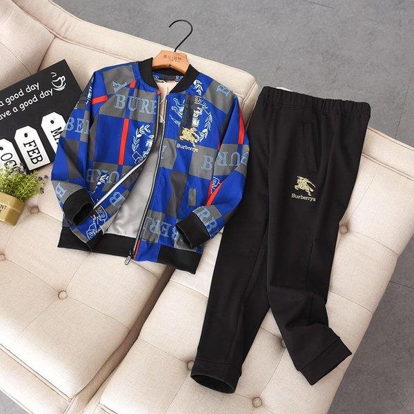 Kids Designer Clothing Marques Set De Luxe Britannique Style Vestes Pantalon pour Garçon Marque Fille Survêtement Avtive 2 Piece Set Etudiants 130-170 .01