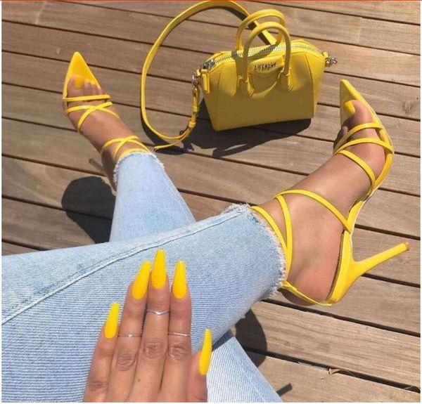 Sexy Sandálias Amarelas Senhoras Sandálias Verão Nova Apontou A Boca Dos Peixes Cruz Stilettos Ponto Afiado 11.5 cm Dedo Do Pé calcanhares ZL-222-5