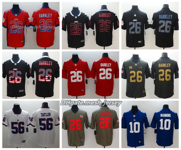 newest 44dc9 03194 2019 Men New York Jersey Giants 26 Saquon Barkley 10 Eli Manning 56  Lawrence Taylor Color Rush Football Stitching Jerseys From Lama001, $21.32  | ...