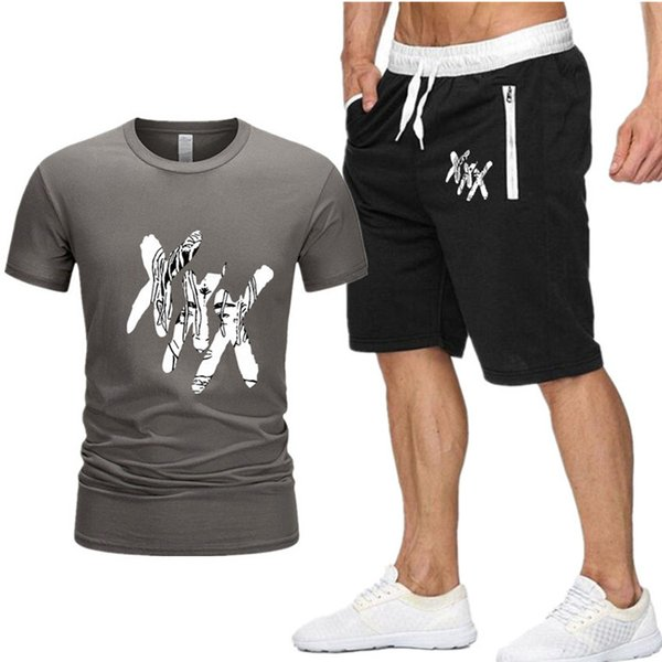 Moda verão Xxxtentacion Ocasional Terno Treino Homens de Manga Curta de Algodão T camisas + Shorts Set Carta Impressa Definir Tamanho S-XXL P5