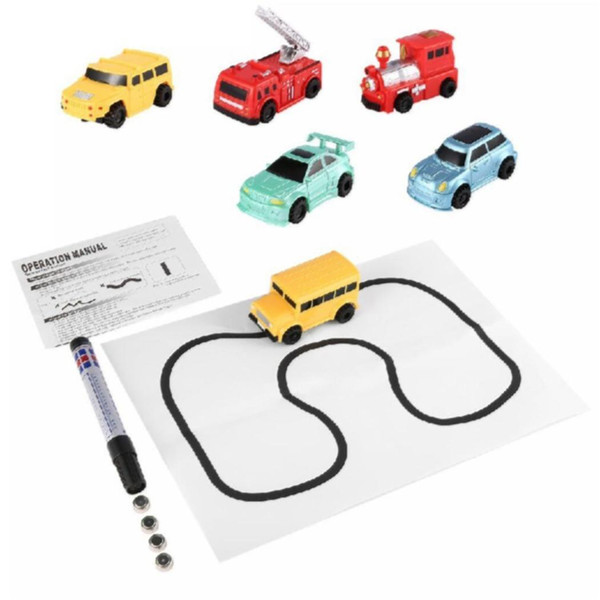 HOT Mini Magic Truck Toy Engineering Vehicles Truck Children's Inductive Tank Car Pen Draw Lines Induction Rail Car