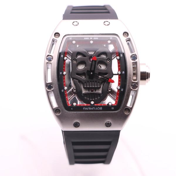BOYUHENG de estilo casual cabeza del cráneo Negro Dial batería de cuarzo para hombre Relojes 43MM de reloj de pulsera de la goma transparentes Movimiento
