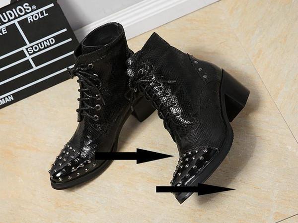 Caliente Venta de los zapatos para hombre-Remaches Ankle Boots Negro de encaje arriba partido del vestido de boda de tacón grueso Otoño Invierno Hombre Botas de cuero de los zapatos Sapatos
