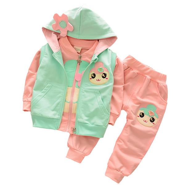 Yeni çocuk giyim 2017 Sonbahar Kız Karikatür 3 Adet Giysileri çocuklar Ceket + Yelek + pantolon 3 takım çocuk uzun kollu pamuklu giysiler suit 4 s / l