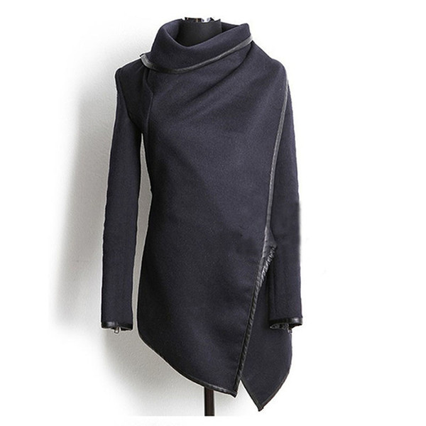 New Arrive Women Irregular Long Cashmere Overcoats Jacket Scarf Collar Solid Coat Female Winter Warm Long Sleeve Overcoat