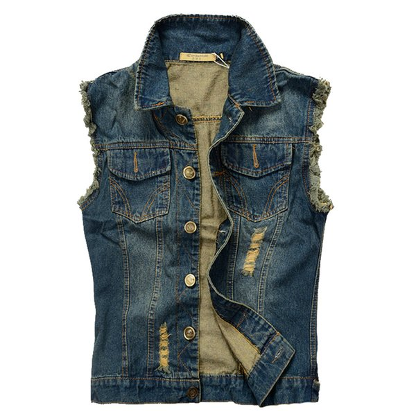 2019 Men Cowboy Brand Sleeveless Jacket Male Tank Top Ripped Jean Jacket Mens Denim Vest 5XL 6XL Jeans Waistcoat