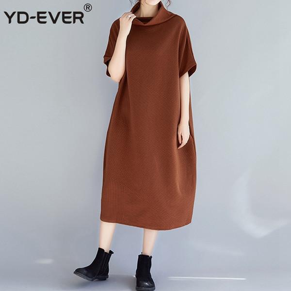 YD-EVER Women Long Dresses Winter Knitting Thicken Turtleneck Ladies Elegant Vestidos Plus Size Batwing Striped Loose Dress